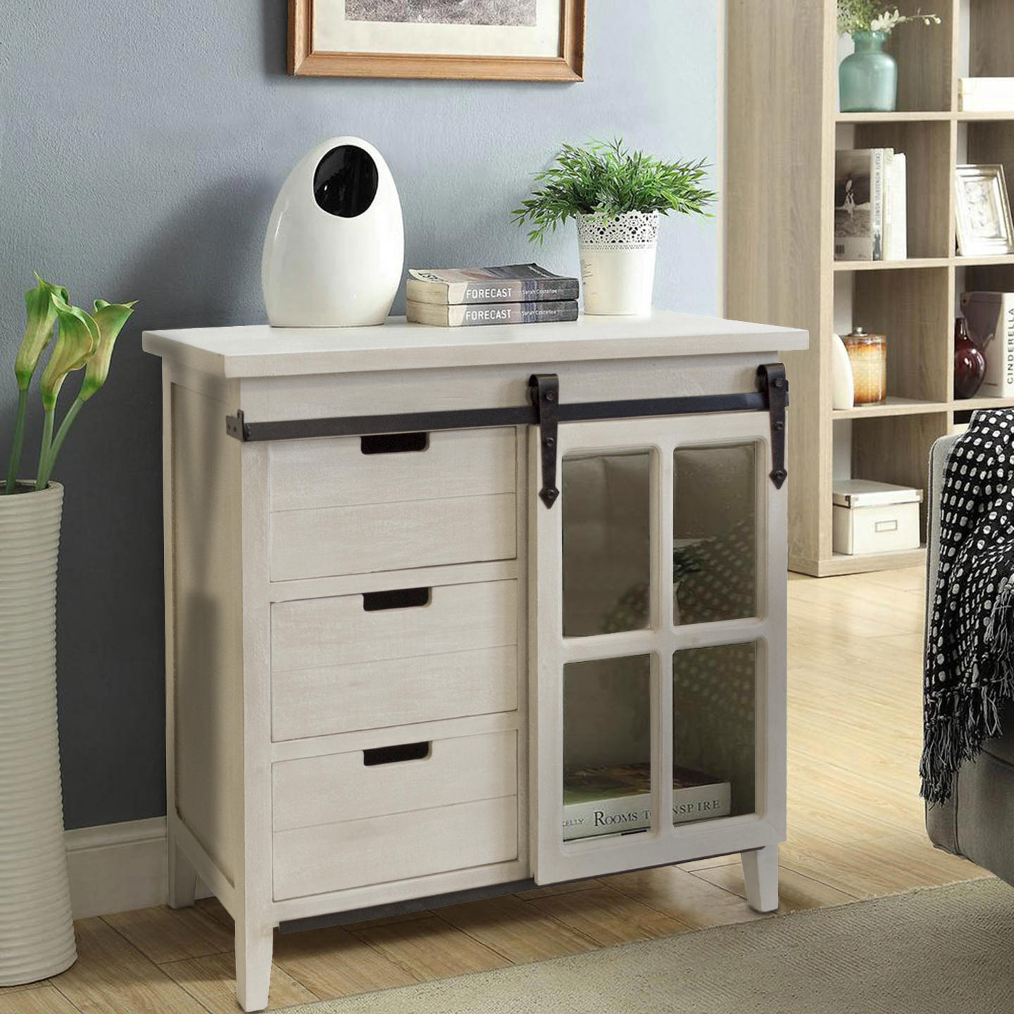 OS Home And Office Furniture Model 477000 Farm House, Weathered, Barn Door  Style Sliding Glass Door Storage Cabinet With Three Drawers   Walmart.com