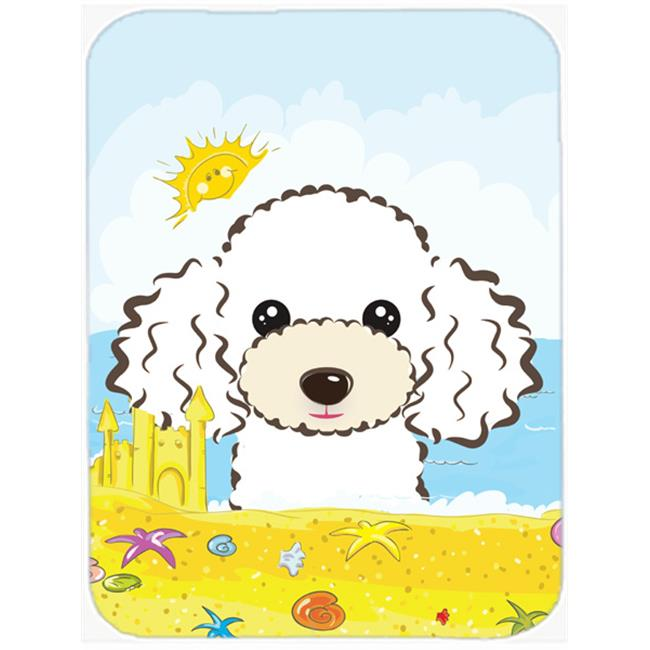 White Poodle Summer Beach Mouse Pad, Hot Pad or Trivet