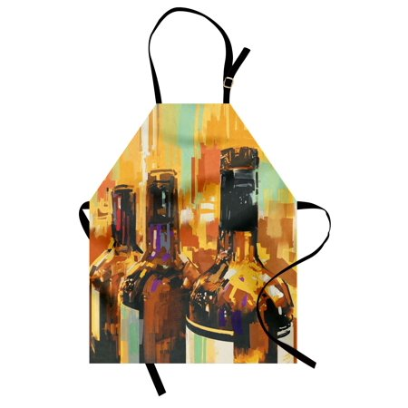 Wine Apron Colorful Painting Style Bottles of Wine with Vivid Bruststrokes Beverage Artwork Print, Unisex Kitchen Bib Apron with Adjustable Neck for Cooking Baking Gardening, Multicolor, by Ambesonne