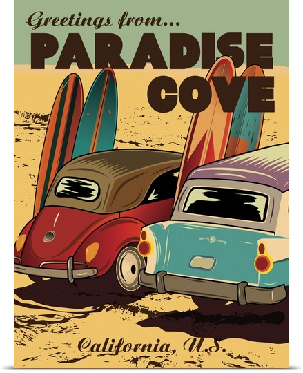 Click here to buy Great BIG Canvas American Flat Poster Print entitled Paradise Cove by Great Big Canvas.