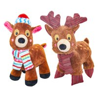 Holiday Time Plush Reindeer and Deer Dog Toy 2-Pack