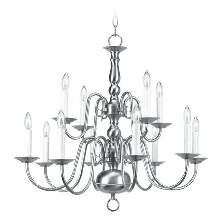 Chandeliers 12 Light With Brushed Nickel Finish size 26 in 720 Watts - World of Crystal