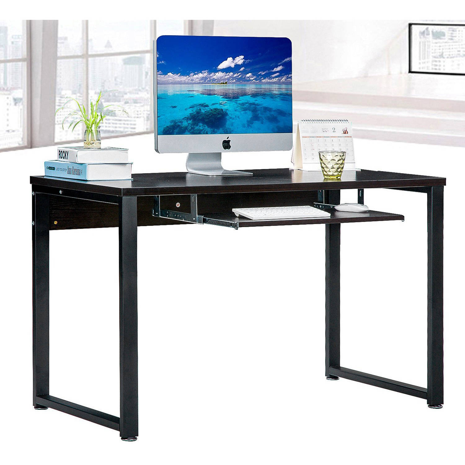 large rectangular computer desk office desk with keyboard tray