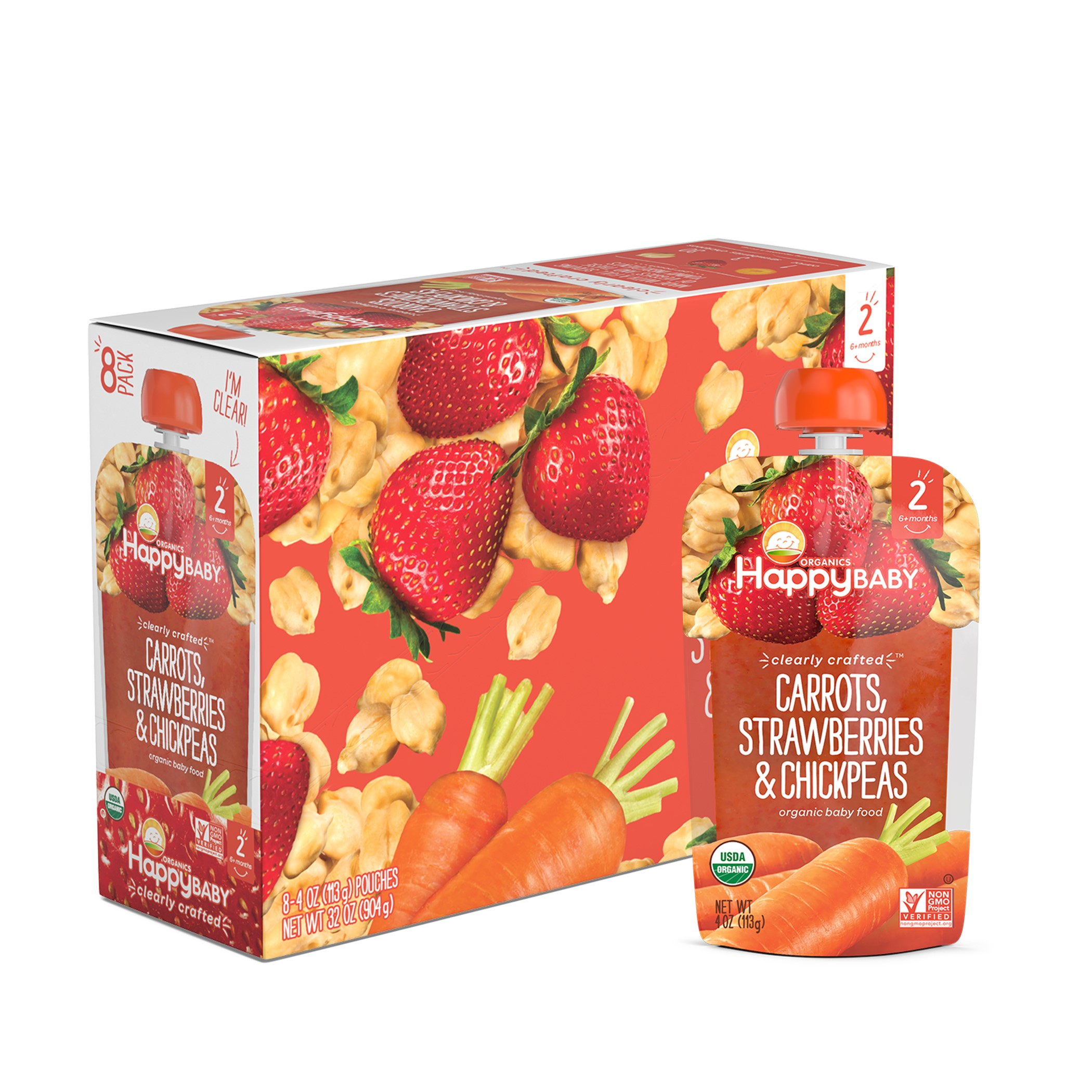 Happy Baby Clearly Crafted, Stage 2, Organic Baby Food, Carrots, Strawberries & Chickpeas, 4 Oz (Innerpack of 8)