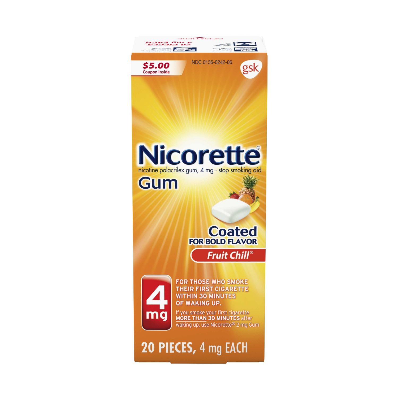 Nicorette Nicotine Gum, Stop Smoking Aid, 4 mg, Fruit Chill Flavor, 20 count