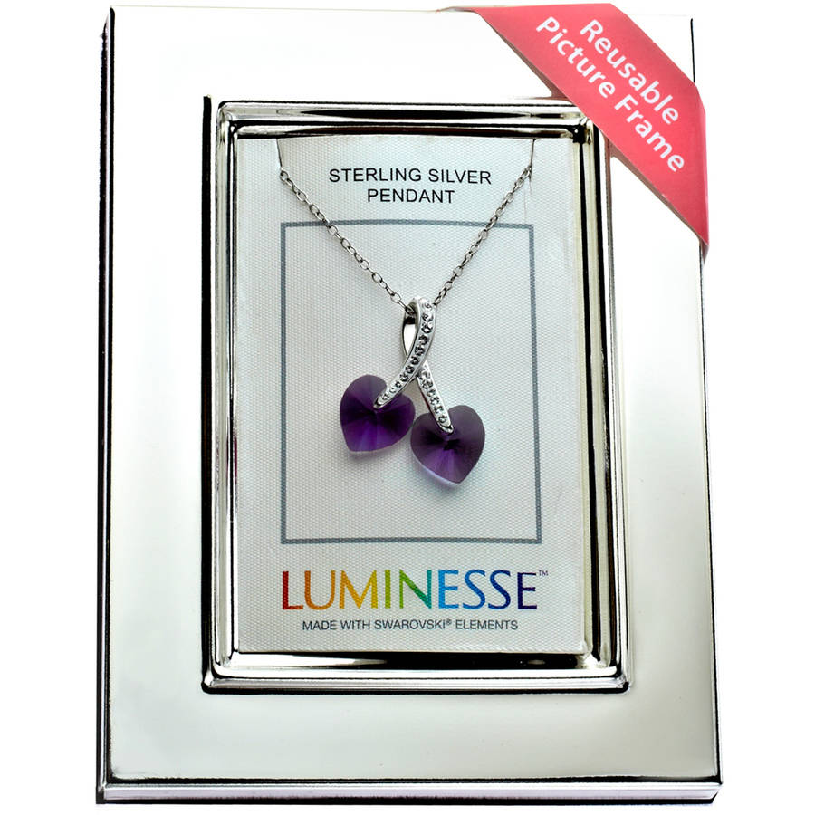 "Luminesse Purple Crystal Hearts Pendant on 18"" Sterling Silver Chain with Picture Frame"