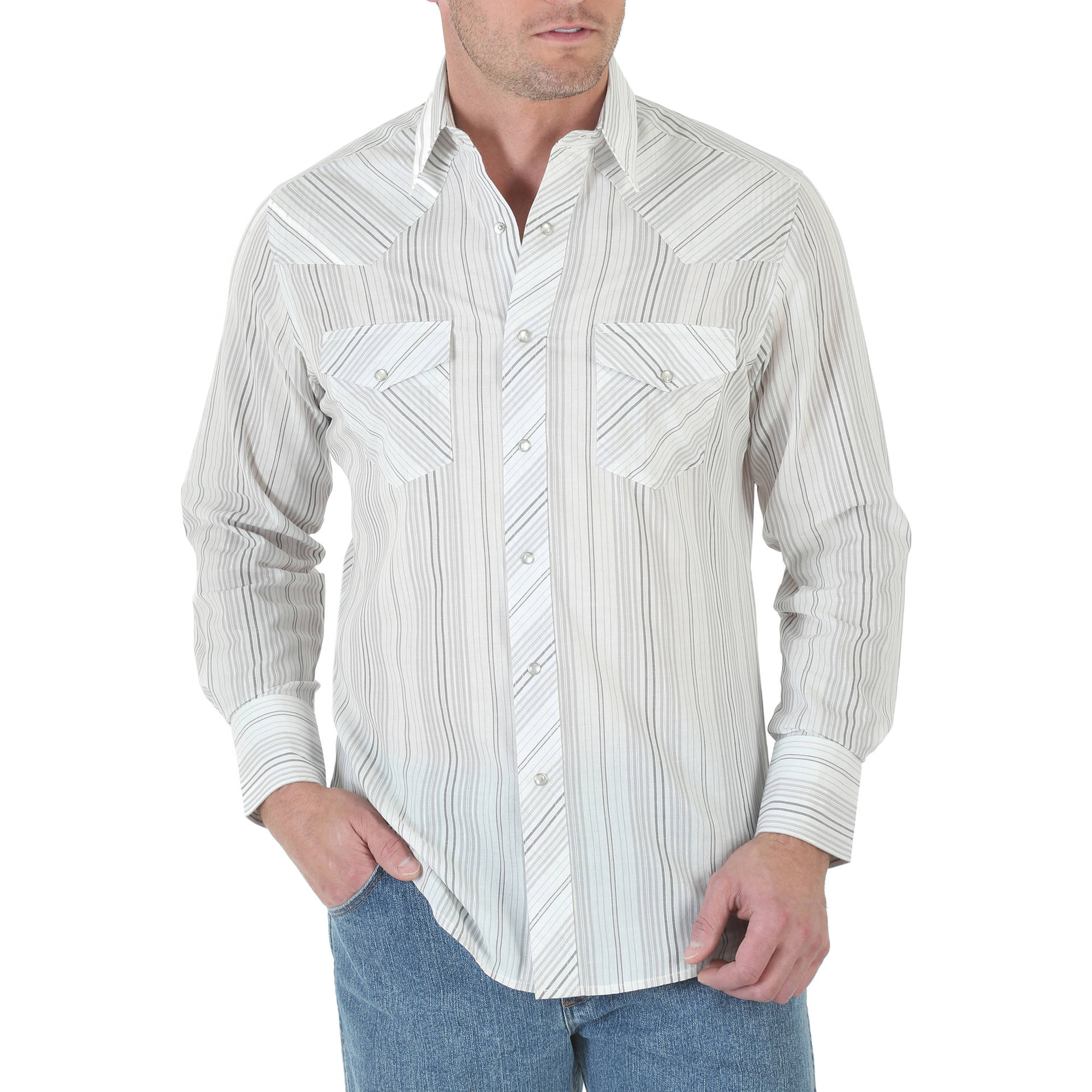 Wrangler Big Mens' Long Sleeve Western Striped Woven Shirt, 2XL