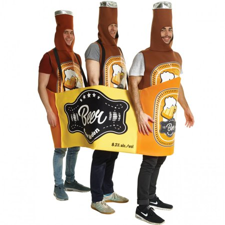 Adult Beer Bottle Case Multi-Person Adult Costume, Brown Orange, One-Size (Beer Bottle Costumes)