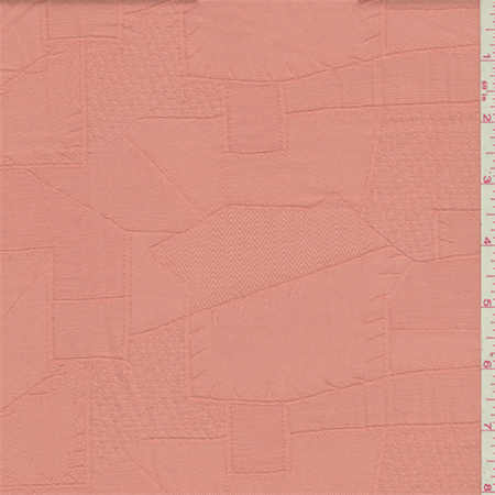 Dark Peach Damask Jacquard, Fabric By the Yard