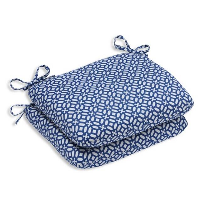 Pillow Perfect 594392 Indoor-Outdoor In The Frame Sapphire Rounded Corners Seat Cushion, Blue - Set of 2