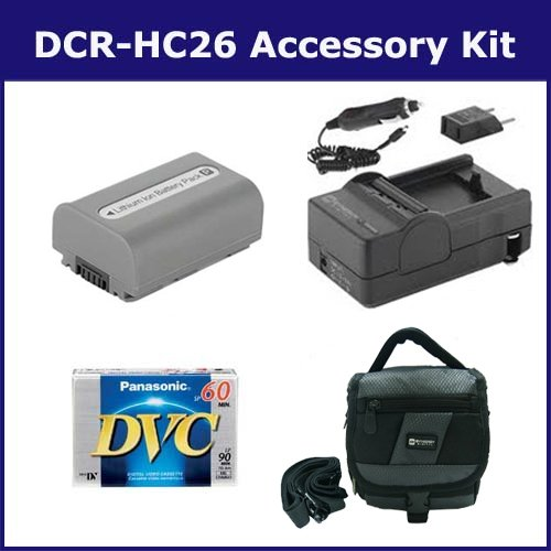 Sony DCR-HC26 Camcorder Accessory Kit includes: DVTAPE Tape/ Media, SDM-109 Charger, SDNPFP50 Battery, SDC-27 Case
