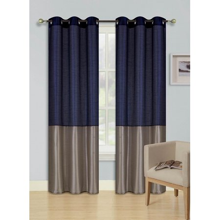 1pc Navy Blue Taupe Heidi Faux Silk D Panel Top Chrome Metallic Grommet Window Curtain Treatment