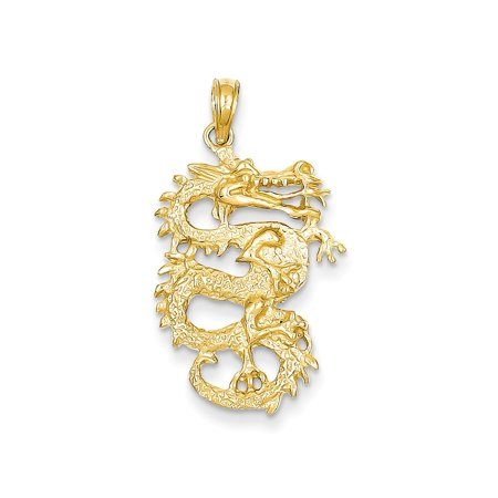 - 14k Yellow Gold Solid 3 Dimensional Dragon Pendant Charm Necklace Skull Dagger For Women