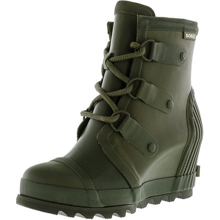 dec7f2e40b4 Sorel Women's Joan Rain Wedge Nori / Zest High-Top Rubber Boot - 8.5M