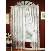 "CARLY LACE CURTAIN PANEL WITH ATTACHED VALANCE WITH TASSELS, 63"" LONG, ECRU BONE"