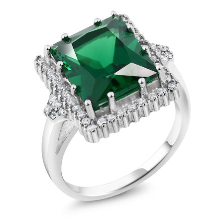 5.50 Ct Emerald Cut 12x10mm Green Simulated Emerald 925 Sterling Silver Ring for $<!---->