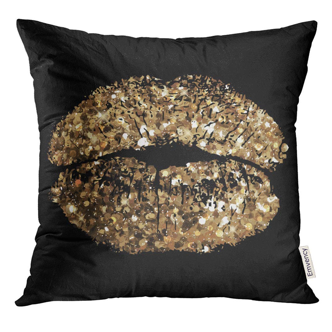 USART Glam of Kiss with Gold Shimmer Sequin Pillow Case 20x20 Inches Pillowcase