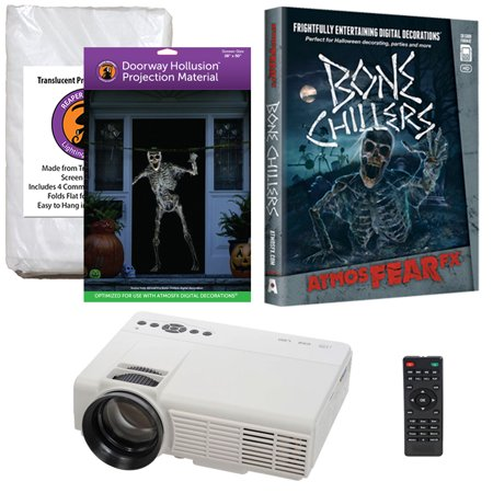Halloween Projector Kit for Windows, Doors & Walls with Bone Chillers AtmosFEARFx DVD + 2 Screens (R/D) + Projector - Atmosfearfx Spirit Halloween