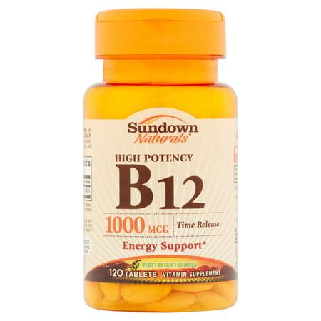 Sundown Naturals B12 supplément de vitamine comprimés, 1000mcg, 120 count