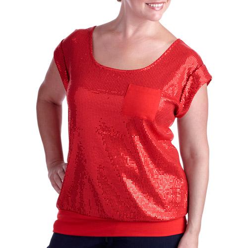 Faded Glory Women's Plus-Size Lattice Back Sequin Tee