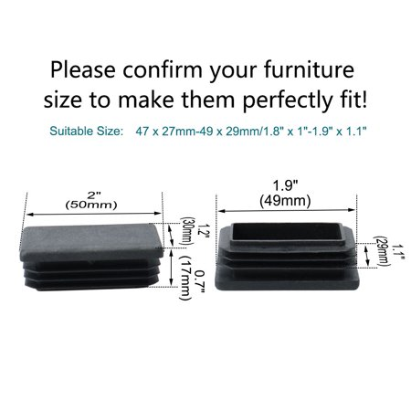 13pcs 50 x 30mm Plastic Rectangle Ribbed Tube Insert Cover Pad Furniture Chair Table Desk Feet Floor Protector - image 2 de 7