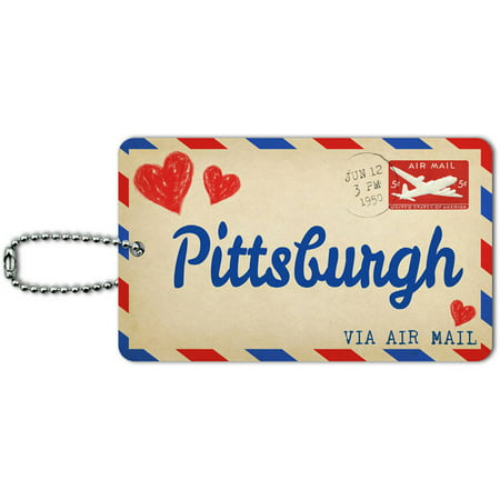 Air Mail Postcard Love for Pittsburgh ID Tag Luggage Card for Suitcase or Carry-On