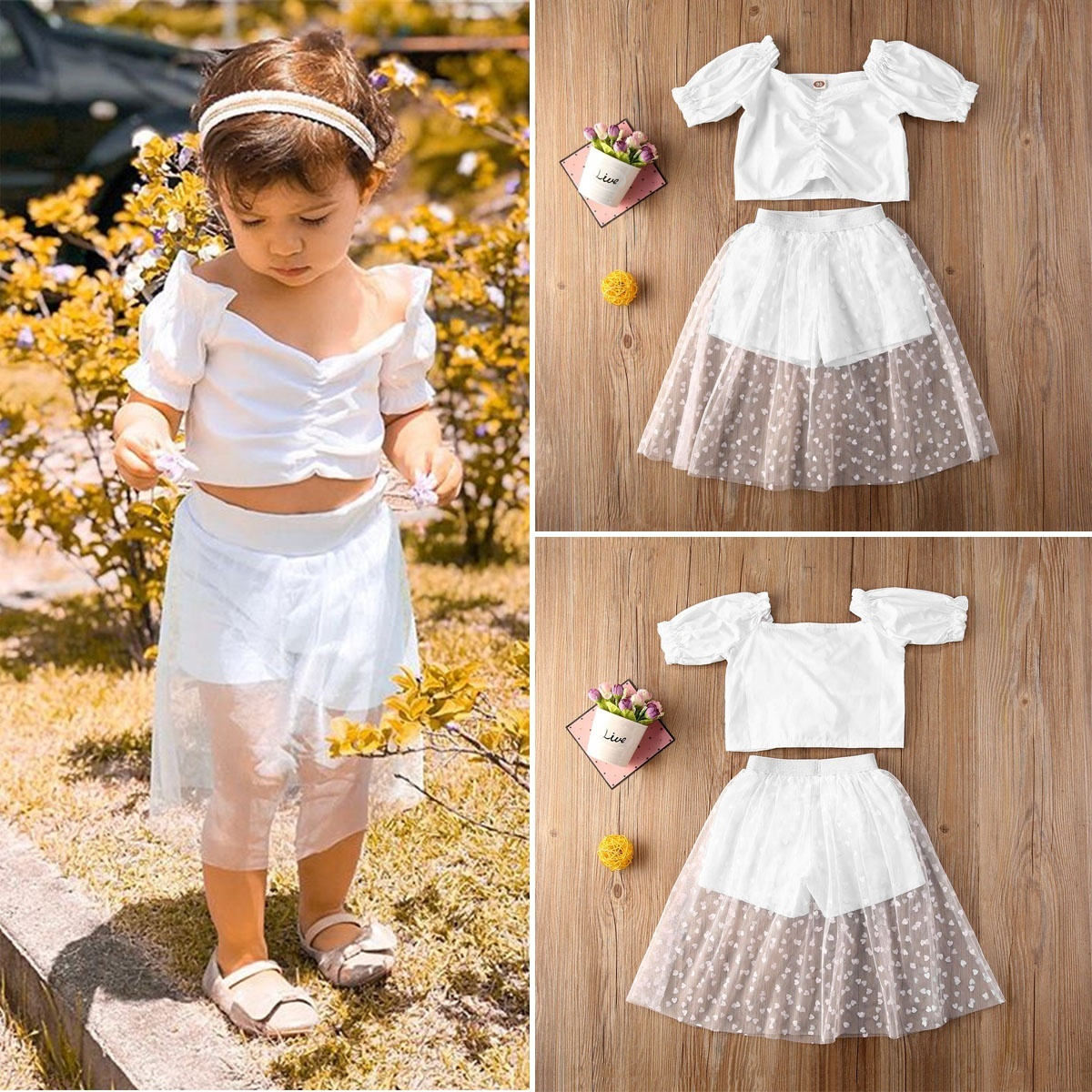 2pcs Toddler Kids Baby Girls Clothes Crop Top Shorts Lace Dress Outfit Summer Set Walmart Canada