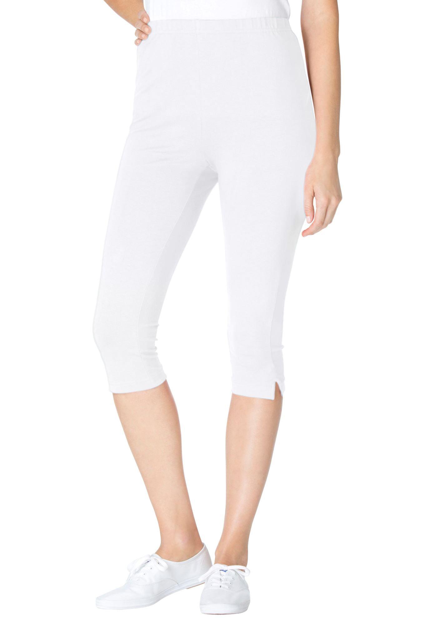 Woman Within Plus Size Stretch Cotton Capri Legging