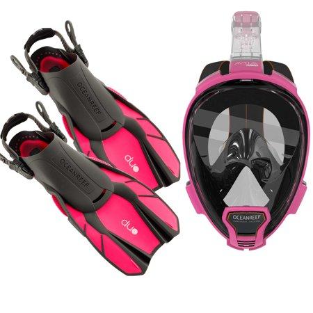 Ocean Reef Diving - Ocean Reef Aria QR+, Duo Travel Ready Mask/Fins Set Diving, Snorkeling Pink