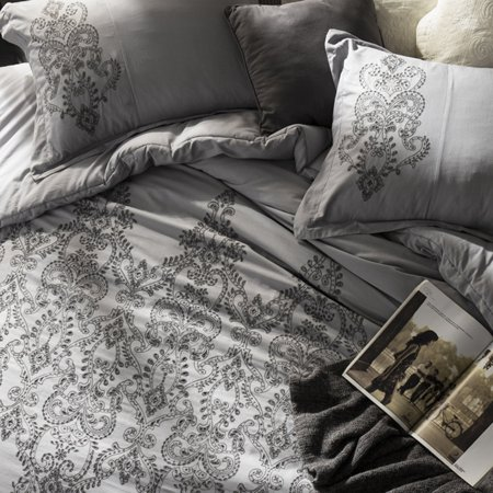 BYB Baroque Stitch Duvet Cover - Alloy/Pewter - Pewter Baroque Collection