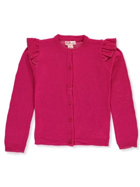 Pink Angel Ruffle Shoulder Cardigan Sweater (Little Girls & Big Girls)