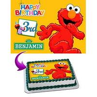 Elmo Sesame Street Cake Image Personalized Topper Edible Image Cake Topper Personalized Birthday 1/4 Sheet Decoration Party Birthday Sugar Frosting Transfer Fondant Image Edible Image for cake