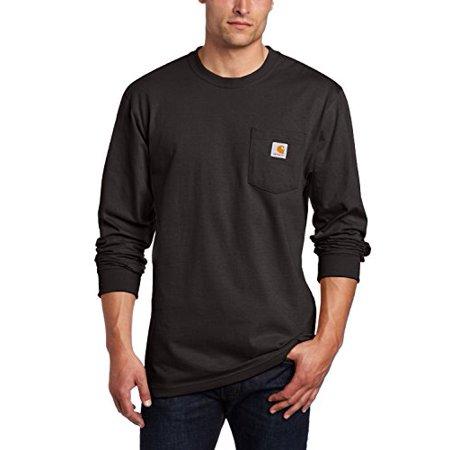 Carhartt Heavyweight Work Shirt - Carhartt Men's Workwear Pocket Long Sleeve T-Shirt Midweight Jersey Original Fit K126,Black,Medium
