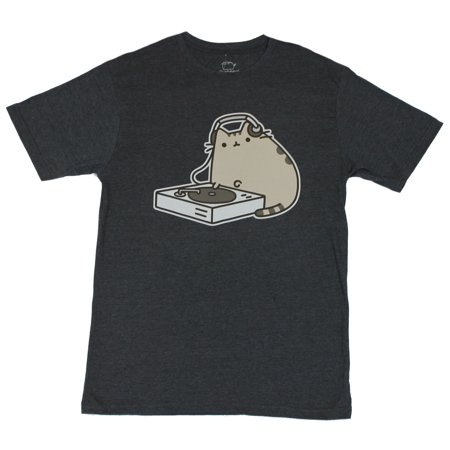 Pusheen Mens T-Shirt  - DJ Cat Party Time Internet Image