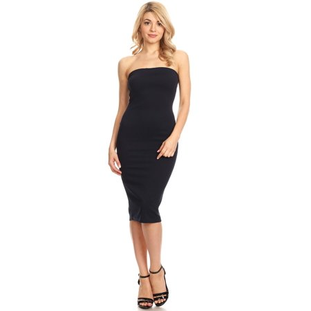 MOA COLLECTION Women's Casual Solid Comfy Sexy Strapless Midi Bodycon Tube Dress/Made in USA