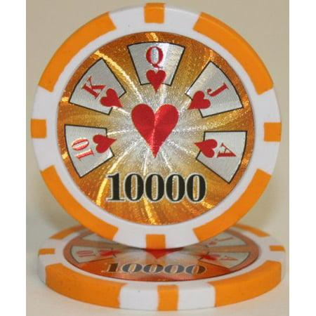 25 $10,000 Hi Roller 14 Gram Laser Graphic Poker Chips, 14 table grams By -