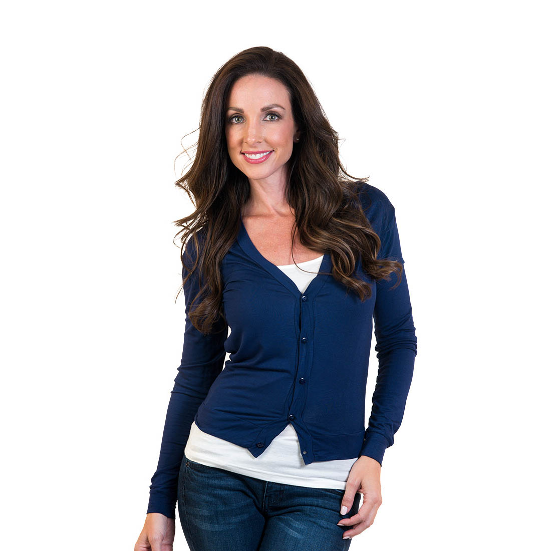 Women's Agiato Short Button Front Cardigan Navy XXLarge