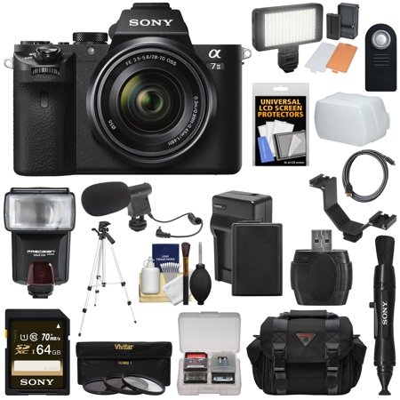 Sony Alpha A7 II Digital Camera & 28-70mm FE OSS Lens with 64GB Card + Battery & Charger + Case + Tripod + Flash + LED Light + Microphone + Kit