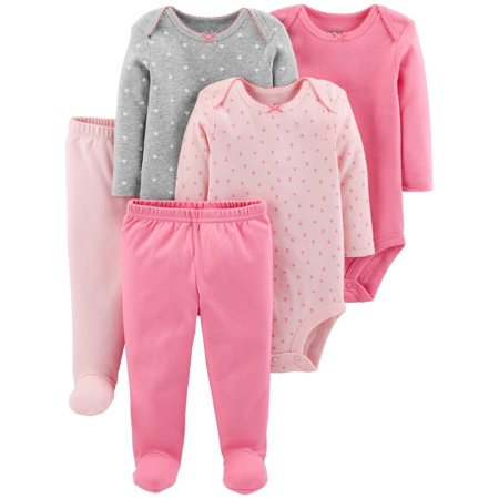 Basic Long Sleeve Bodysuits & Pants, 5pc Set (Baby Girls) - Baby Necessities From A To Z