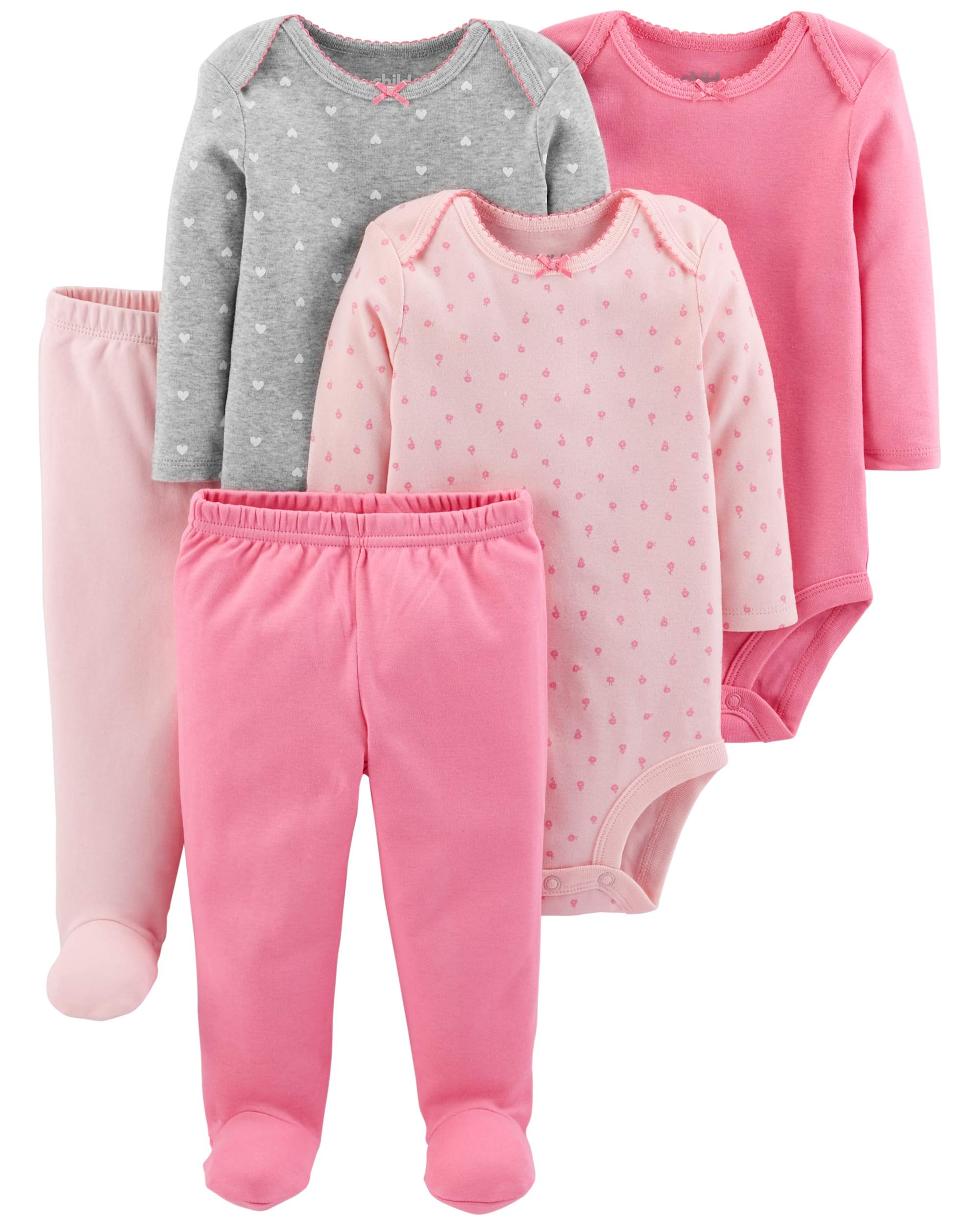 Basic Long Sleeve Bodysuits & Pants, 5pc Set (Baby Girls)