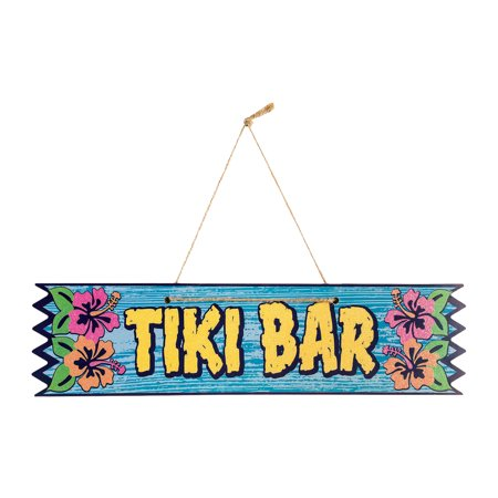 Tiki Bar Hanging Plaque Luau Party Wooden Sign Hawaiian Party Decor Decoration