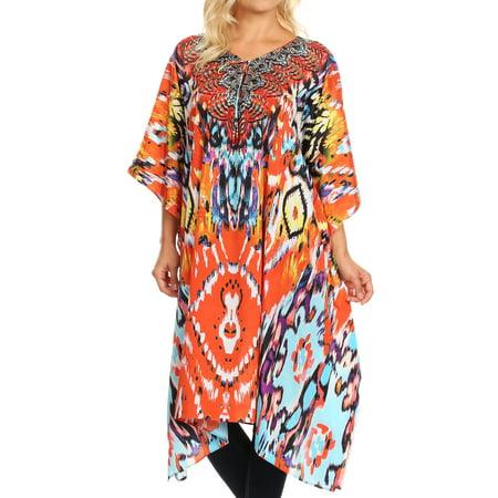 Sakkas Jenni Women's Mid Length Boho Caftan Kaftan Dress Cover up Flowy Rhinestone - IR2-Red - One Size