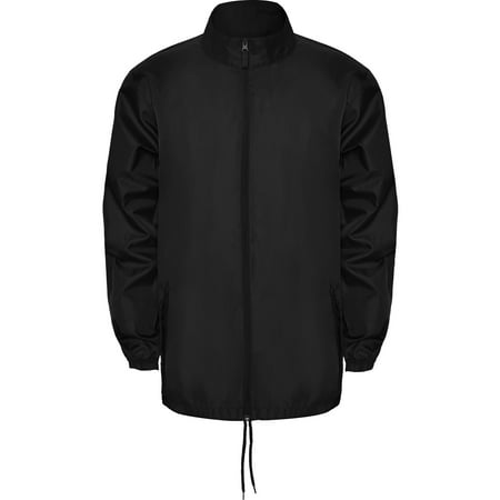 Thin Windbreaker Rain Jacket Foldable Hood - IF FOR MEN: SIZING RUNS SMALL GET THE NEXT SIZE UP - Full Zip - Pockets With Flap And Zipper - Packable - Adjustable
