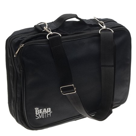 Crafter's Tote Bag, with 2 Removable Pockets and 23 Compartments 12x10, Black (Two Compartment Flap Purse)