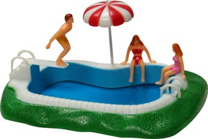 4 pc Swim Pool w/Swimmers Set Cake Adornments (6inches)
