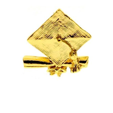 Graduation Mortorboard and Diploma Pin Gold