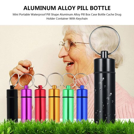 HC-TOP Waterproof Pill Shaped Aluminum Alloy Pill Drug Bottle Holder Container Keychain - image 5 of 6