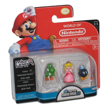 World of Nintendo Super Mario Bros. U Micro Land Figure Set - (Yoshi Princess Peach Ba-Bomb)