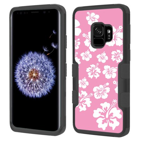 Shockproof Case for Samsung Galaxy S9, OneToughShield ® 3-Layer Hybrid Protector Phone Case (Black/Black) - Hibiscus Pink