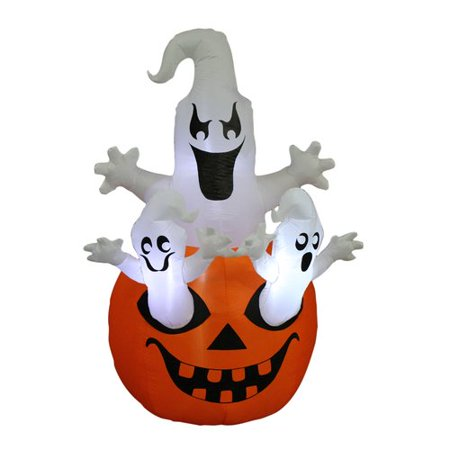 The Holiday Aisle Halloween Inflatable Pumpkin with Ghost - Halloween Inflatables Walmart